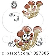 Clipart Of Cartoon Honey Agaric Mushrooms Hands And A Face Royalty Free Vector Illustration