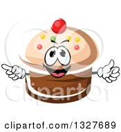 Clipart Of A Cartoon Cupcake Character With Sprinkles And A Cherry Royalty Free Vector Illustration