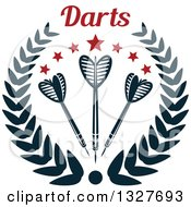 Clipart Of Text Over Navy Blue Throwing Darts With Stars In A Wreath Royalty Free Vector Illustration