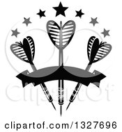 Clipart Of Black And White Throwing Darts With Stars And A Banner Royalty Free Vector Illustration