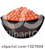 Clipart Of A Cartoon Bowl Of Red Caviar Royalty Free Vector Illustration