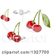 Clipart Of A Happy Cartoon Face Hands And Cherries Royalty Free Vector Illustration