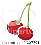 Clipart Of Cartoon Cherries On A Stem Royalty Free Vector Illustration by Vector Tradition SM