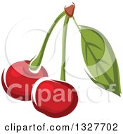 Clipart Of Cartoon Cherries On A Stem With A Leaf Royalty Free Vector Illustration by Vector Tradition SM