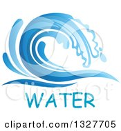 Clipart Of A Blue Splash Or Surf Wave With Water Text 4 Royalty Free Vector Illustration