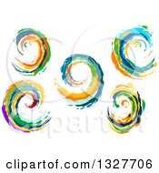 Poster, Art Print Of Colorful Painted Curling Waves