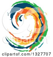 Poster, Art Print Of Colorful Painted Curling Wave 6