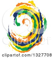 Clipart Of A Colorful Painted Curling Wave 7 Royalty Free Vector Illustration