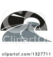Clipart Of A Highway Road Through A Tunnel Royalty Free Vector Illustration
