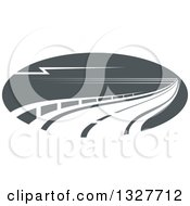 Clipart Of A Highway Road With Barriers Royalty Free Vector Illustration