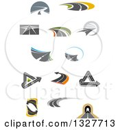 Clipart Of Highway Roads And Arrows Royalty Free Vector Illustration