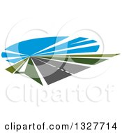 Clipart Of A Highway Road With Green Grass And Blue Sky Royalty Free Vector Illustration