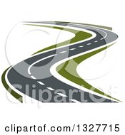 Clipart Of A Curvy Highway Road Royalty Free Vector Illustration