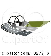 Clipart Of A Highway Road Street And Bridge Royalty Free Vector Illustration