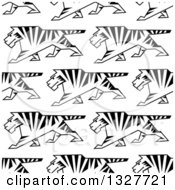 Seamless Background Pattern Of Sketched Walking Tigers
