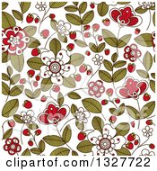 Clipart Of A Seamless Background Pattern Of Doodled Strawberry Blossoms Plants And Berries Royalty Free Vector Illustration