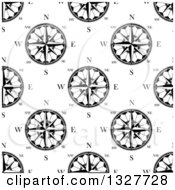 Clipart Of A Seamless Pattern Background Of Black And White Compasses 5 Royalty Free Vector Illustration by Vector Tradition SM