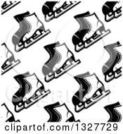 Clipart Of A Seamless Background Pattern Of Black And White Ice Skates Royalty Free Vector Illustration