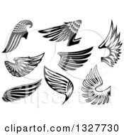 Clipart Of Black And White Feathered Wings 4 Royalty Free Vector Illustration