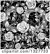 Clipart Of A Seamless Background Pattern Of White Roses And Leaves Over Black 2 Royalty Free Vector Illustration