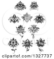 Clipart Of A Black And White Henna And Lotus Flowers 16 Royalty Free Vector Illustration