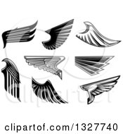 Clipart Of Black And White Feathered Wings 5 Royalty Free Vector Illustration
