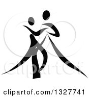 Clipart Of A Black And White Ribbon Couple Dancing Together 3 Royalty Free Vector Illustration