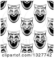 Clipart Of A Seamless Background Pattern Of Black And White Comedy Theater Masks Royalty Free Vector Illustration