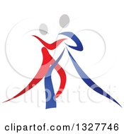 Clipart Of A Red Blue And White Ribbon Couple Dancing Together 3 Royalty Free Vector Illustration