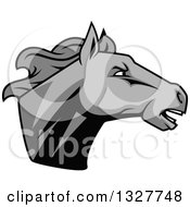 Clipart Of A Grayscale Tough Stallion Horse Head 2 Royalty Free Vector Illustration