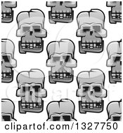 Poster, Art Print Of Seamless Pattern Background Of Grayscale Monster Skulls 3