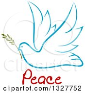 Clipart Of A Sketched Light Blue Flying Peace Dove With A Branch And Text Royalty Free Vector Illustration