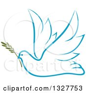 Clipart Of A Sketched Light Blue Flying Peace Dove With A Branch Royalty Free Vector Illustration