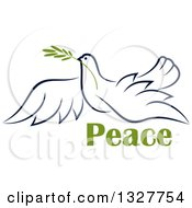 Clipart Of A Sketched Flying Navy Blue Peace Dove With A Branch And Text Royalty Free Vector Illustration