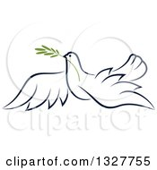 Clipart Of A Sketched Flying Navy Blue Peace Dove With A Branch Royalty Free Vector Illustration