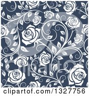 Clipart Of A Seamless Pattern Of White Roses On Blue Royalty Free Vector Illustration