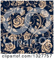 Clipart Of A Seamless Pattern Of Tan Roses On Navy Blue 2 Royalty Free Vector Illustration