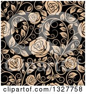 Clipart Of A Seamless Pattern Of Tan Roses On Black 3 Royalty Free Vector Illustration