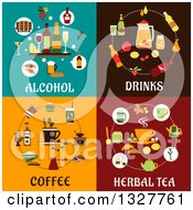 Poster, Art Print Of Flat Design Alcohol Drinks Coffee And Herbal Tea Icon Designs