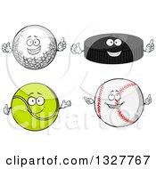 Poster, Art Print Of Cartoon Golf Ball Hockey Puck Tennis Ball And Baseball Characters