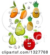 Clipart Of Cartoon Mangoes Pineapples Pears And Red Apples With Faces And Hands Royalty Free Vector Illustration