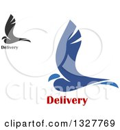Clipart Of Blue And Gray Birds With Delivery Text Royalty Free Vector Illustration
