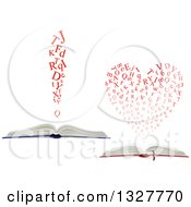 Clipart Of Open Books With Red Letters Forming A Heart And Exclamation Point Royalty Free Vector Illustration