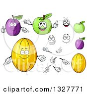 Clipart Of Cartoon Plums Green Apples And Canary Melons Faces And Hands Royalty Free Vector Illustration