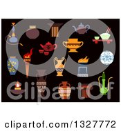Clipart Of A Flat Design Ancient Torch Stone Fire Bowls Amphoras Copper And Ceramic Teapots Oil Lamp Hookah Pipe Tea Services Vases Jug And Plates Royalty Free Vector Illustration