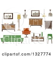 Clipart Of Retro Household Furniture 3 Royalty Free Vector Illustration