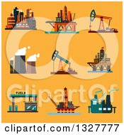 Flat Design Offshore Oil Platforms Oil Pump Jacks Oil Refinery Plants Thermal Power Plant And Filling Station Over Orange