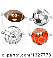 Cartoon American Football Soccer Ball Basketball And Volleyball Characters