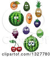 Clipart Of Cartoon Apricot Avocado Pineapple Mango Watermelon Blackberry Grapes Plum Lime And Cherry Characters Royalty Free Vector Illustration