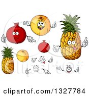 Clipart Of Cartoon Pomegranate Apricot And Pineapple Characters Faces And Hands Royalty Free Vector Illustration